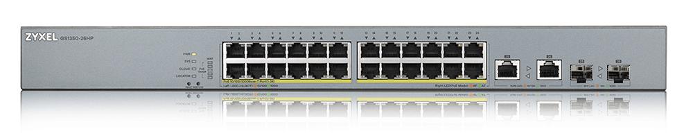 Zyxel GS1350-26HP 24-Port Gigabit PoE+ L2 Web Managed Switch    ZyxelGuard.com
