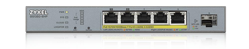 Zyxel GS1350-6HP 5-Port Gigabit PoE+ L2 Web Managed Switch | ZyxelGuard.com