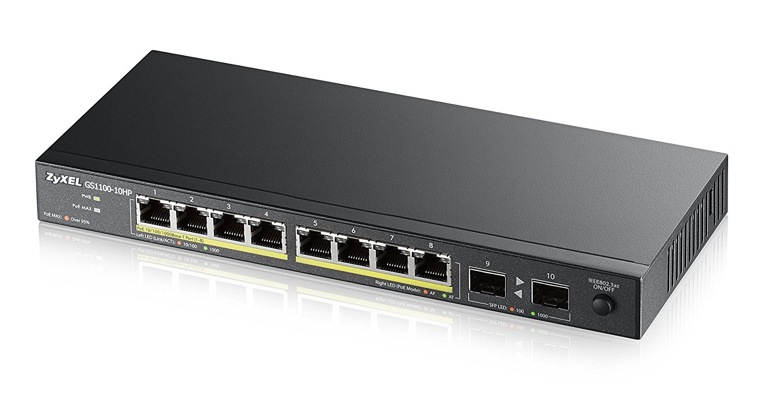 ZyXEL GS1100-10HP 8-Port Gigabit 802.3at/802.3af PoE+ (8 Ports GbE PoE) 130W Power Budget and 2x SFP Uplinks